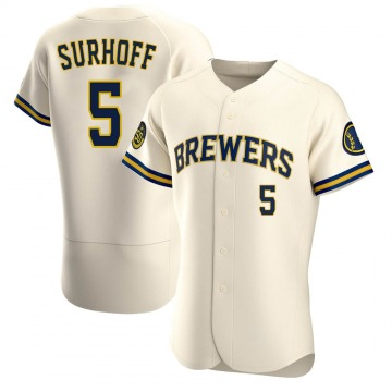 Men's Bj Surhoff Milwaukee Brewers Authentic Cream Home Jersey