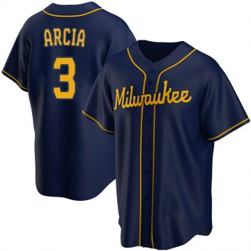 Men's Orlando Arcia Milwaukee Brewers Replica Navy Alternate Jersey
