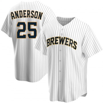 Youth Brett Anderson Milwaukee Brewers Replica White Home Jersey