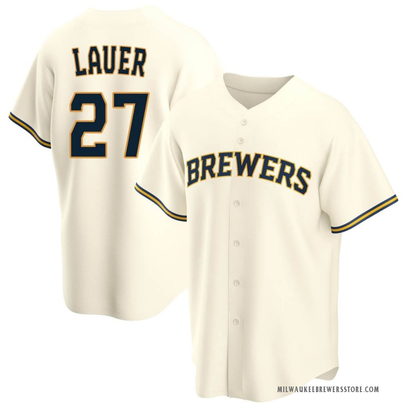 Youth Eric Lauer Milwaukee Brewers Replica Cream Home Jersey