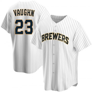 Youth Greg Vaughn Milwaukee Brewers Replica White Home Jersey