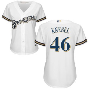 Women's Majestic Corey Knebel Milwaukee Brewers Replica White Home Cool Base Jersey