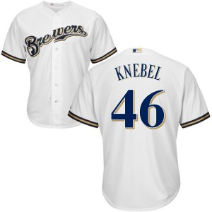 Men's Majestic Corey Knebel Milwaukee Brewers Authentic White Cool Base Jersey