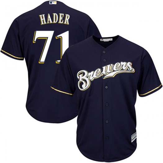Youth Majestic Josh Hader Milwaukee Brewers Player Authentic Navy Cool Base Alternate Jersey