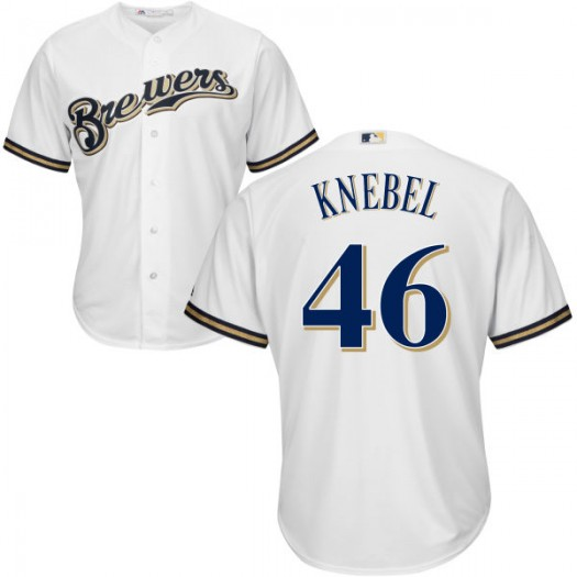 Men's Majestic Corey Knebel Milwaukee Brewers Player Replica White Cool Base Jersey