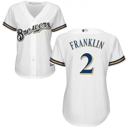 Women's Majestic Nick Franklin Milwaukee Brewers Player Authentic White Home Cool Base Jersey