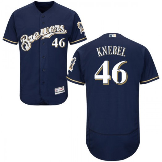 Men's Majestic Corey Knebel Milwaukee Brewers Player Authentic Navy Alternate Home Flex Base Collection Jersey